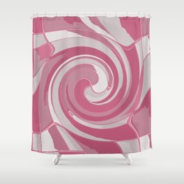 Spiral in Pink and White Shower Curtain
