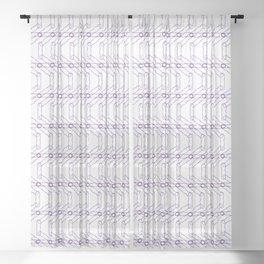 Blue and Purple Spiro Pattern Sheer Curtain