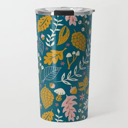 Fall Foliage in Blue and Gold Travel Mug