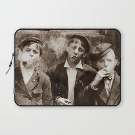 Newsboys Smoking - 1910 Child Labor Photo Laptop Sleeve