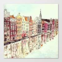 amsterdam Canvas Prints featuring Amsterdam by Rebecca Mcmillan