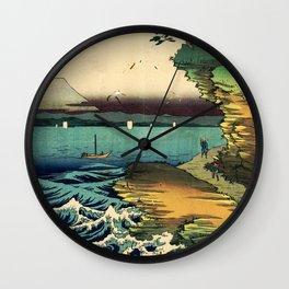 Hiroshige - 36 Views of Mount Fuji (1858) - 36: The Hota Coast in Awa Province Wall Clock