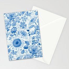 Denim Blue Monochrome Retro Floral Stationery Cards