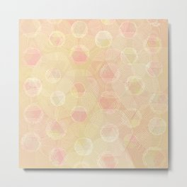 Peachy Keen Hexagons Metal Print