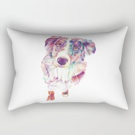 Multicolored Australian Shepherd red merle herding dog Rectangular Pillow