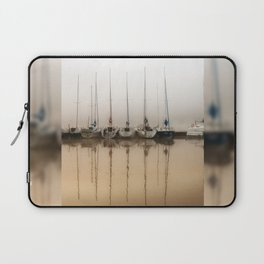 Boats moored in fog Laptop Sleeve