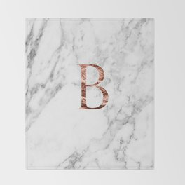 Monogram rose gold marble B Throw Blanket
