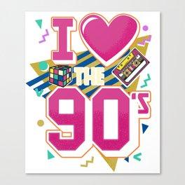 I Love The 90s - Retro Vintage T-Shirt Canvas Print