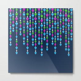 Pearl beads and hearts .  3 Metal Print