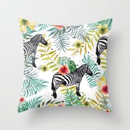 Zebra, cactus and flowers Throw Pillow