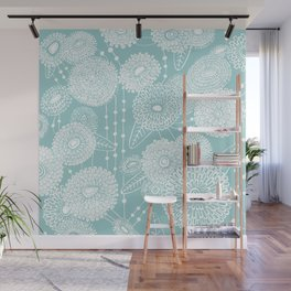 Asters rain in mint green color Wall Mural