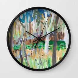 Water Lilies Through the Trees Wall Clock