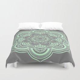 Mandala Flower Gray & Mint Duvet Cover