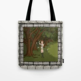 Girl Warrior Elf Archer on Edge of Forest Tote Bag