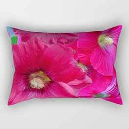 FUCHSIA PINK GARDEN HOLLYHOCKS Rectangular Pillow
