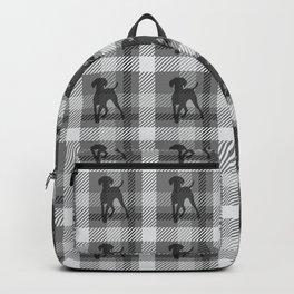 WEIMARANER BLACK PLAID Backpack