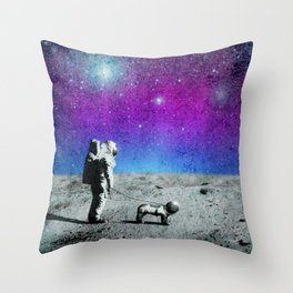 Astronaut walking his dog on the moon Throw Pillow