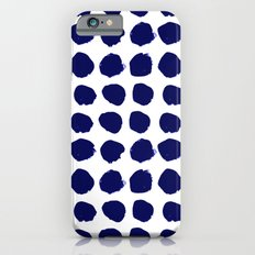 Aria - indigo brushstroke dot polka dot minimal abstract painting pattern painterly blue and white  Slim Case iPhone 6