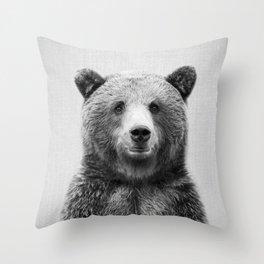 Grizzly Bear - Black & White Throw Pillow