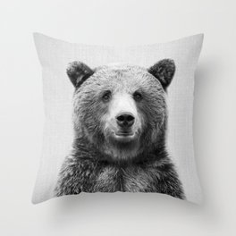 Grizzly Bear - Black & White Throw Pillow