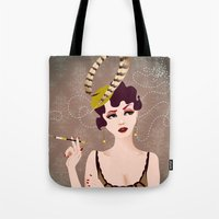 cigarette Tote Bags featuring Cigarette Sigh by Limelight Illustration
