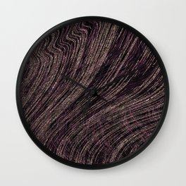 Deep Purple and Rose Gold Metallic Marble Texture Wall Clock
