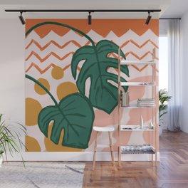 Monstera Split Leaf in Sunrise Wall Mural