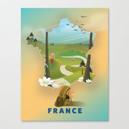 France map travel poster. Canvas Print