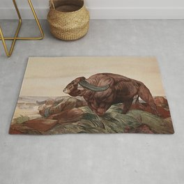 """""""Return of the Buffalo Herd"""" from Kipling's Tales of India Rug"""