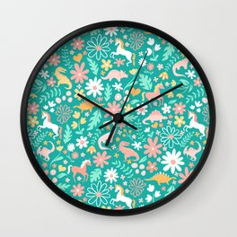 Dinosaurs + Unicorns on Teal Wall Clock