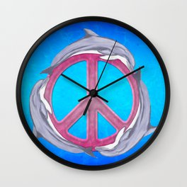 Dolphin Peace Pink Wall Clock
