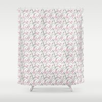 water colour Shower Curtains featuring PINK & GRAY WATER COLOUR BRANCHES by Anna Eve