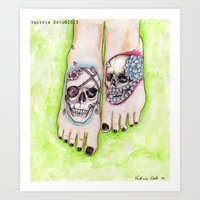 feet Art Prints featuring feet by musentango87