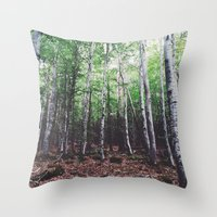 uncharted Throw Pillows featuring Uncharted Woods  by Oscar Goodwin
