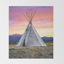 Southwest Sunset with Teepee Throw Blanket