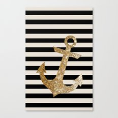 GOLD GLITTER ANCHOR IN BLACK AND NUDE Canvas Print