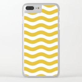 Wavy Stripes Patten Mustard Yellow Clear iPhone Case