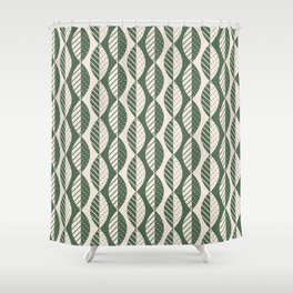 Mod Leaves in Olive and Cream Shower Curtain