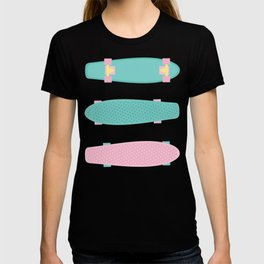 Pastel Skateboards Pattern - Pastel on Black T-shirt