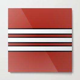 70s Style Red White Black Retro Stripes Nidaba Metal Print