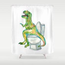 T-rex in the bathroom dinosaur painting Shower Curtain