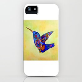 humming bird in color with green-yellow back ground iPhone Case
