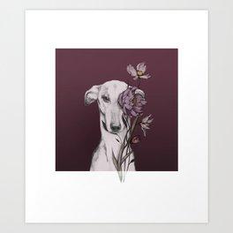 Greyhound Floro Red Art Print
