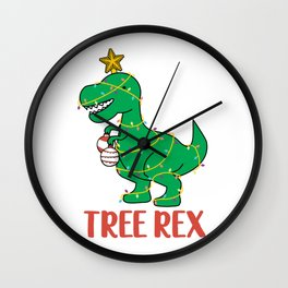 Cute Tree Rex Christmas Tree Dinosaur Holiday T-Shirt Wall Clock