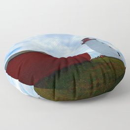 Boat and Lighthouse in Point Prim PEI Floor Pillow