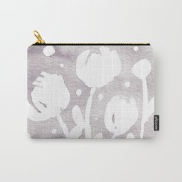 Whimsical watercolor flowers – light grey Carry-All Pouch