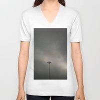 gray V-neck T-shirts featuring Gray Sky by Mauricio Santana