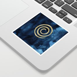 Infinity Navy Blue And Gold Abstract Modern Art Painting Sticker