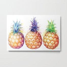 Three Pineapples Metal Print