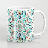 folk Mugs featuring Modern Folk in Jewel Colors by micklyn